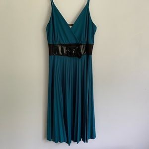 Teal Belted and Pleated Short Dress